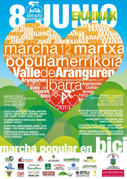 Cartel para la Marcha popular en bici por el Valle de Aranguren